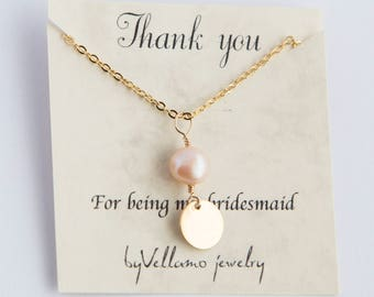 Bridesmaids gift custom pearl necklace, gold filled personalized minimalist initial star, round tag, rose gold, bridesmaid gift jewelry