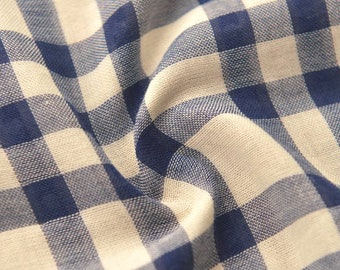 Blue Plaid Fabric, Soft Cotton Fabric Sold by Half Meter MJ710