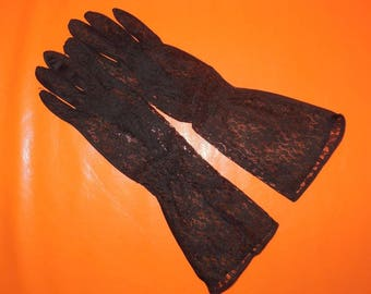 Vintage Black Lace Gloves 1930s 40s 50s Black Sheer Nylon and Lace Gloves Midlength Art Deco Rockabillly Burlesque Pinup sz 7 or so
