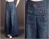 1930 denim SAILOR PANTS wide leg brass buttons navy blue 30s size S