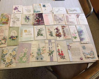 lot of used sympathy cards midcentury 30 pcs