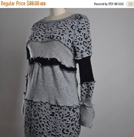 ON SALE Leopard Sweater Dress - Up-cycled Sweater Dress - Eco-friendly Clothing - Sweater Tunic Dress - Leopard