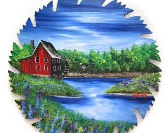 Hand Painted Saw Blade Mountain Summer Red Grist Mill Water Wheel