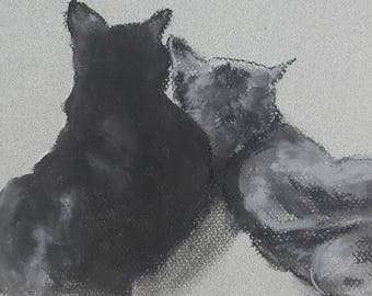 Cute Snuggling Cats Original Pastel Artwork by Niki Hilsabeck