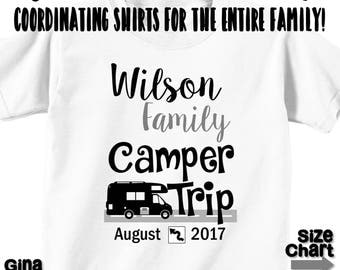 Custom Personalized Camper RV Family Vacation T-shirts Shirt Baby Bodysuit Mom Dad Baby Kids Boy Girl Camper Family RV Road Trip Shirt