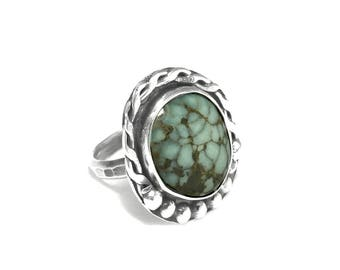 Chunky Sterling Silver Variscite Stone Ring Size 7 1/2 | Silver Peak Nevada Mineral | Gemstone Statement Ring