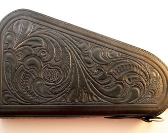 IN STOCK Leather Pistol Case with Hand Tooled Western Pattern - for Large Frame Pistols