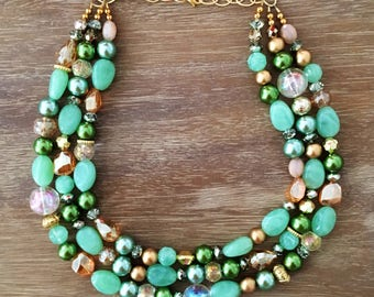 The SOUTHERN CHARM NECKLACE Green Necklace Statement Necklace Jewelry Green Gold Necklace Bridesmaid Jewelry