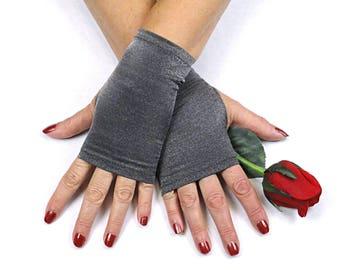 Silver Fingerless Gloves  - Short Metallic Silver Gloves - Silver Costume Gloves - Silver Evening Gloves