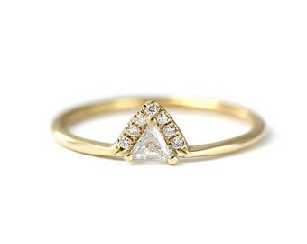ON SALE Triangle Diamond Engagement Ring - Trillion Diamond Ring - 0.11 Carat Trillion Diamond - 18k Gold