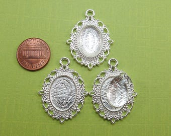 3 sets Bright Silver Tone Pendant Tray with Glass Dome - Fits 13x18 mm setting - frame size 27x36 mm