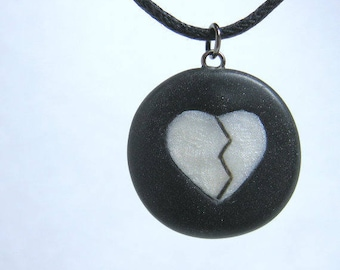 Black and White Mended Heart Necklace, Handmade Polymer Clay Jewelry Pendant
