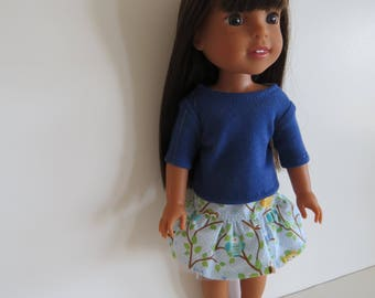 "Made To Fit Like 14.5"" Wellie Wishers Doll Clothes: Doll Cotton Skirt and Cotton Knit Top; Skirt for Wellie Wishers Doll"