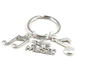 Gift for Music Teacher Keychain  Musician Key Chain Band Keyring Retire Present Men Women Treble Note Love Music Gift Treble Clef Music Key
