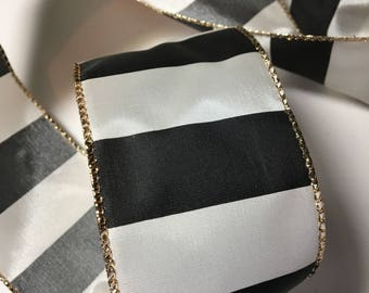 Ribbon by the Yard  Wired Black and White Satin Striped