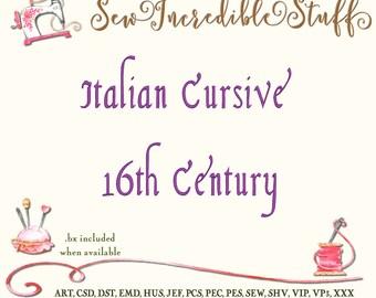 Italian Cursive  Script Machine Embroidery Font