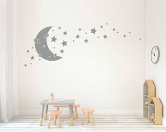 Stars And Moon Wall Decals   Nursery Decor, Stars And Moon Decal, Celestial  Decal