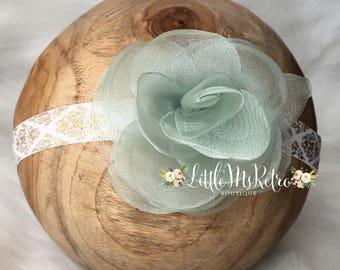Gold Damask,Vintage,Sheer Shimmery Green Rose,Adjustable Headband,Photography Prop,White,Bohemian,Turbans & Headbands,Baby Girl Headband