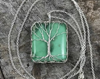 "Tree of Life Necklace - Sterling Silver - Green Variscite - ""Mossy Calm"""