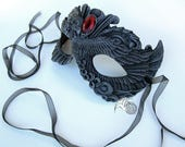 Reserved for CW* Dark Victorian Phoenix Mask with a Red Gem
