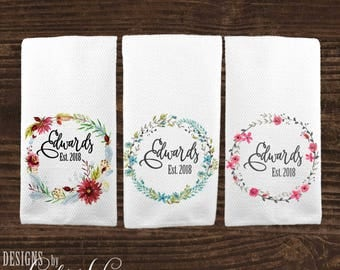 Personalized Kitchen Towel, Custom Wedding Gift, Housewarming Gift, Dish Towel, Towel, Bridal Shower Gift Anniversary Gift for Couple KTP1