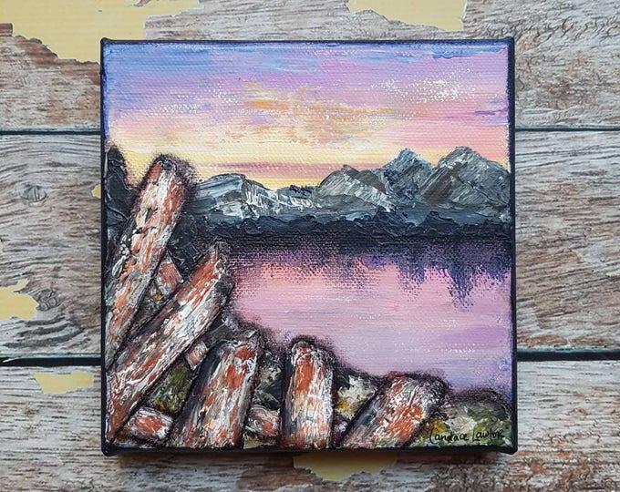 "Seascape Canvas Art | Coastal Painting | Ocean Art | Mountain Painting | 6x6 | ""Yesterday"" | Saltons Cove Studio"