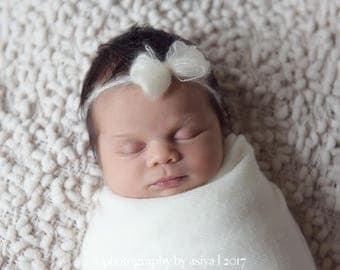 Newborn Mohair Headband Tieback / Baby tieback Headband with Flower/Newborn photography prop