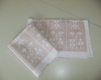 Vintage set of two Tampella linen damask napkins - Örtagården - Yrttitarha - Herb Garden - Dora Jung design
