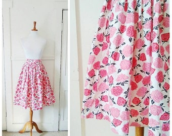 20% OFF / Garden of Thorns 1950s White/Pink/Red/Black Rose Print Cotton Skirt