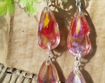 Pomegranate & Sunflower Petal Earrings