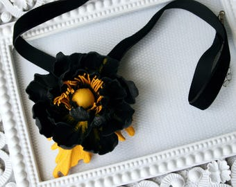 Black - Yellow Leather Poppy Flower Necklace