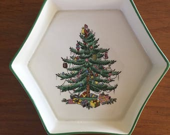 Vintage Spode Christmas Tree Hexagon Cookware Dish