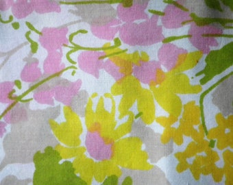 Vintage Flat Sheet Muslin Fabric Twin Size Also Great for Sewing or Crafting Pink Yellow Flowers