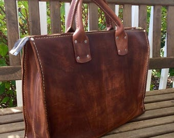ON SALE NOW Soft Leather Business Tote* Leather Laptop Bag* Business Bag* Boho Style* Brown Leather* Hand Stitched Hand Made* Made in the Us
