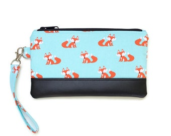 Cute Fox Wristlet Purse - Cell phone purse with optional matching coin purse- Fox Fabric Small purse