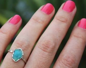 chrysocolla ring, gem silica, druzy ring, sterling silver, stacking ring, stackable ring, dainty ring, recycled silver