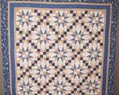 Beautiful Wall or Lap Quilt in Blue and Tan