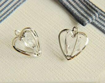 8pcs iron color love embedded zircon pendant