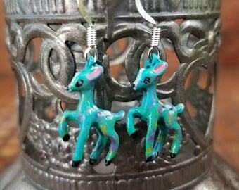 Turquoise rusty deer hand painted earrings