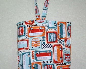 Waterproof, Wipeable and Washable Tossed VW Bus Print Car Trash Bag