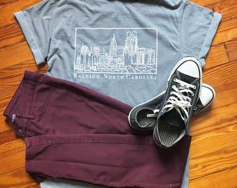 Raleigh North Carolina Skyline Illustration Screen Print on Unisex Adult Pocket 100% Cotton Comfort Colors T-Shirt