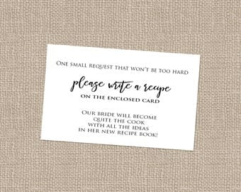 Bridal Shower Recipe Card INSERT - INSTANT DOWNLOAD