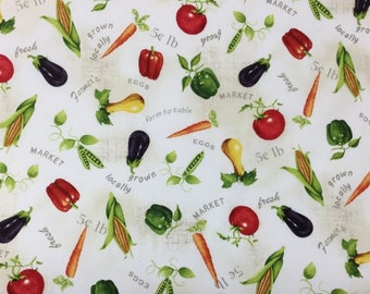 A Day on The Farm - Cotton Fabric - Red Rooster Fabrics - FOOD-01