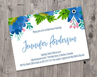 Printable Blue Floral Bridal Shower Invitation