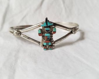 Navajo Kachina Dancer Inlay Sterling Cuff Bracelet