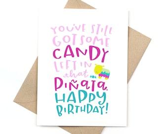 funny birthday card - old birthday card - piñata