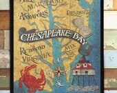 Chesapeake Bay  Map style Print from an original hand painted and lettered sign. Beach House decor, Travel Map, Kids Decor, Home Town Art