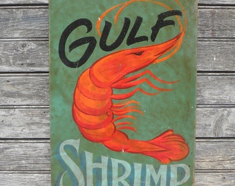 Gulf  Shrimp  Sign, original, wooden sign