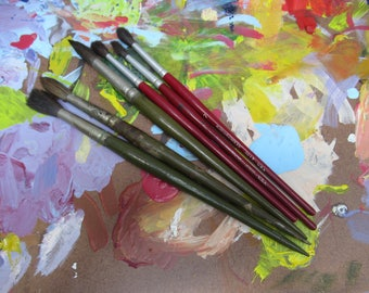 Vintage Lot of Paint Brushes, 6 Artist Brushes, Natural Bristle Brushes, Grumbacher Brush