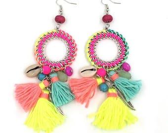 Neon Tassel Fringe Hoop Earrings
